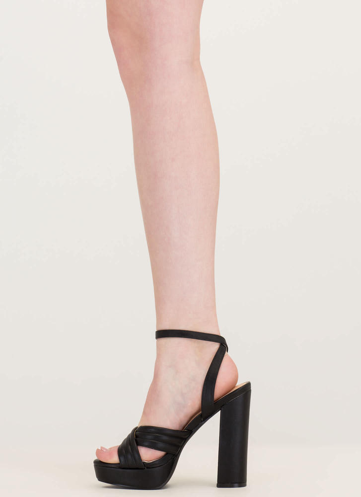 Learn My Lines Faux Leather Chunky Heels BLACK