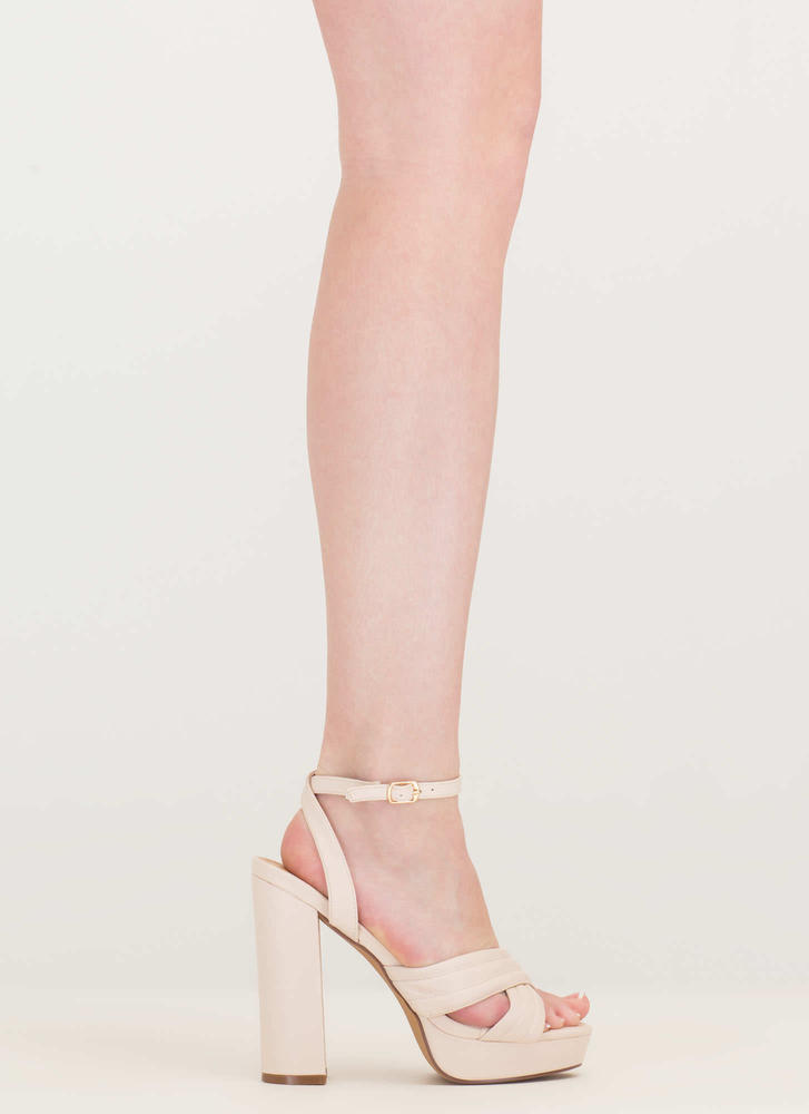 Learn My Lines Faux Leather Chunky Heels CREAM