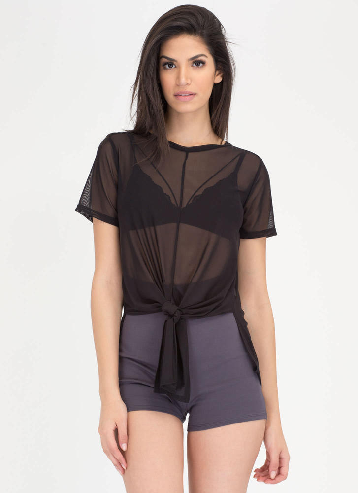 Knot So Fast Sheer Mesh High-Low Top BLACK