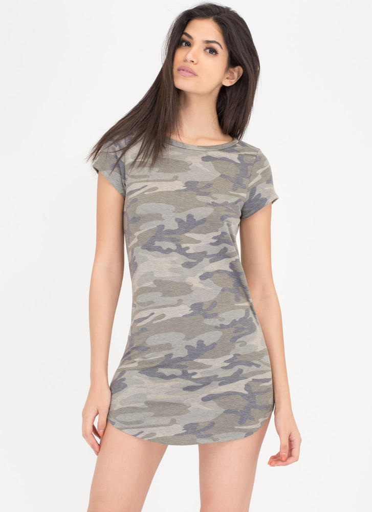 Camo Chameleon Faded T-Shirt Dress CAMOUFLAGE (Final Sale)