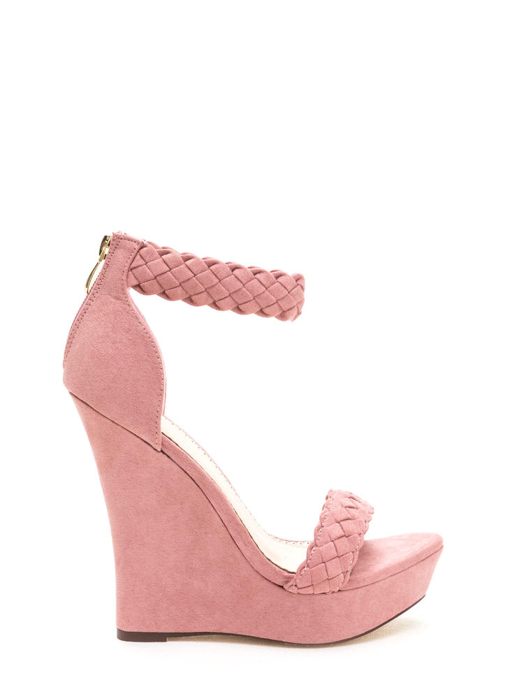 Simple Pleasures Braided Platform Wedges DUSTYPINK