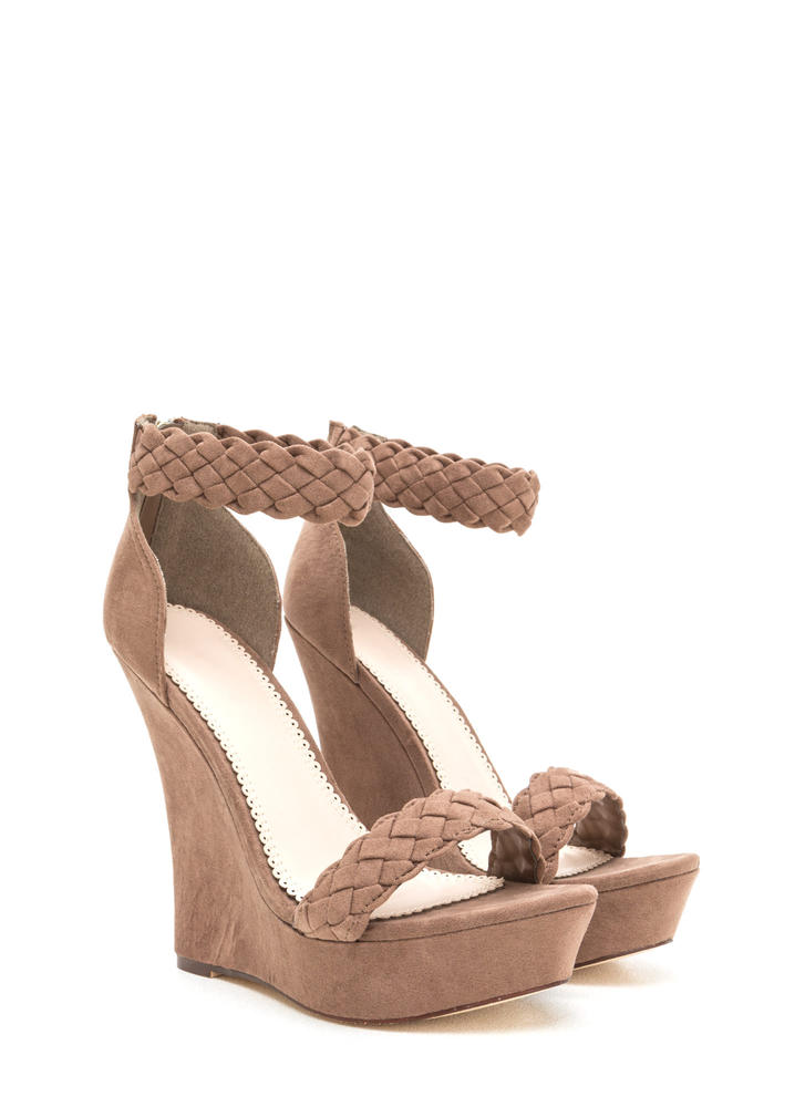 Simple Pleasures Braided Platform Wedges TAUPE