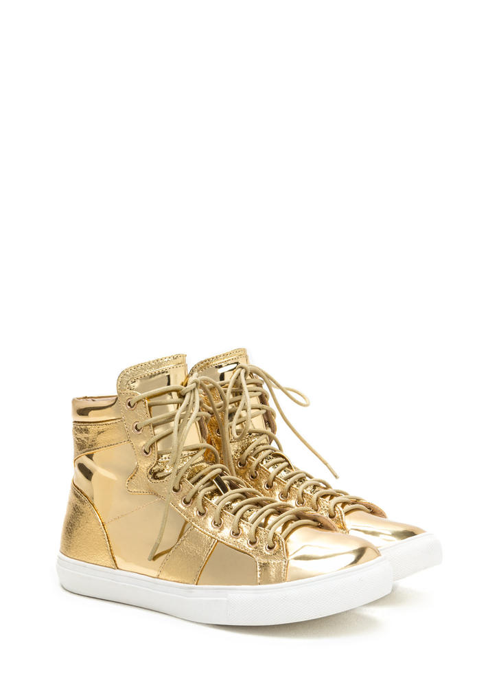 Easy Stroll Metallic High-Top Sneakers GOLD