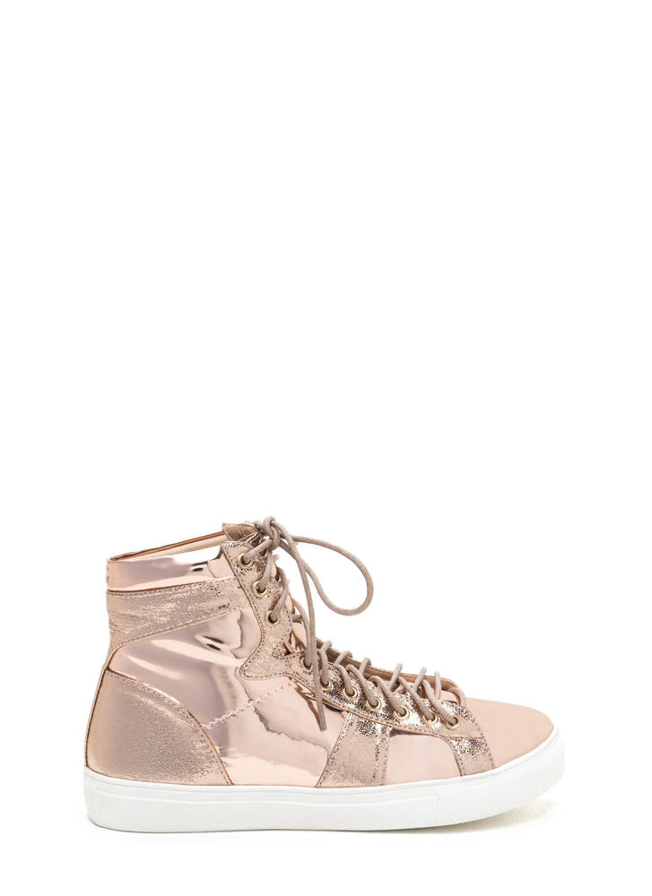 Easy Stroll Metallic High-Top Sneakers ROSEGOLD