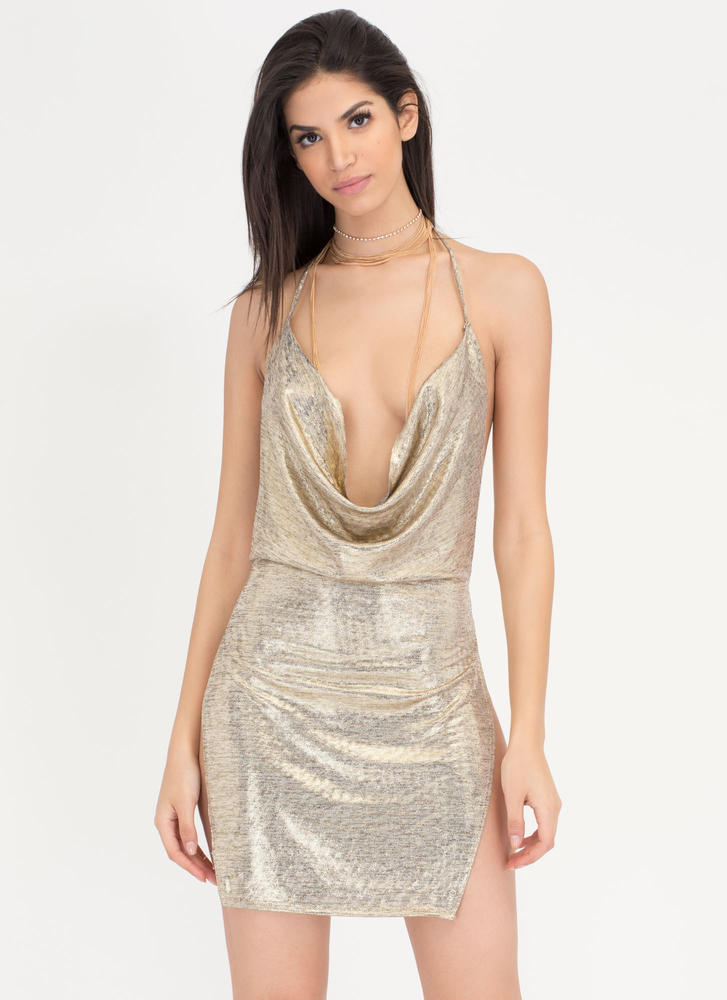 Hot After Party Metallic Halter Dress GOLD