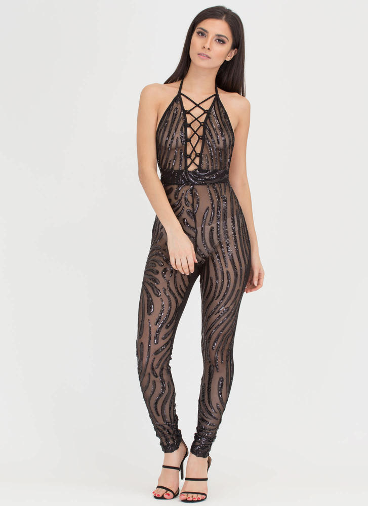 Do The Wave Sheer Sequin Jumpsuit BLACK