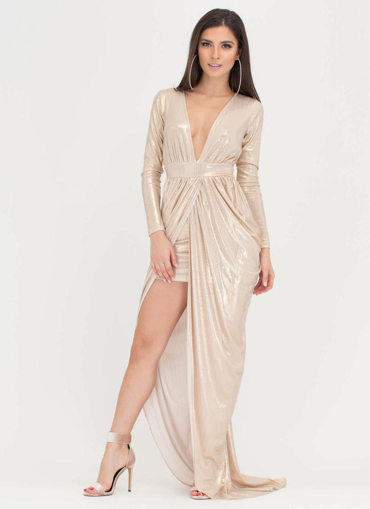 Dreamy Gleam Plunging High-Low Dress GOLD