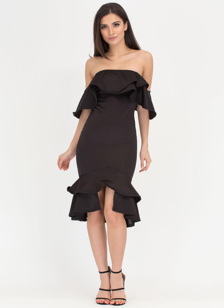 Haute Date Ruffled Off-Shoulder Dress BLACK