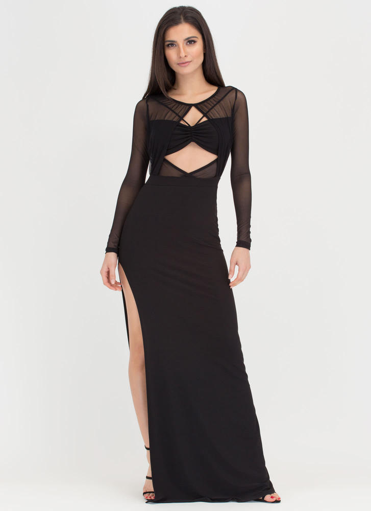 Turn Heads Sheer Bandeau Maxi Dress