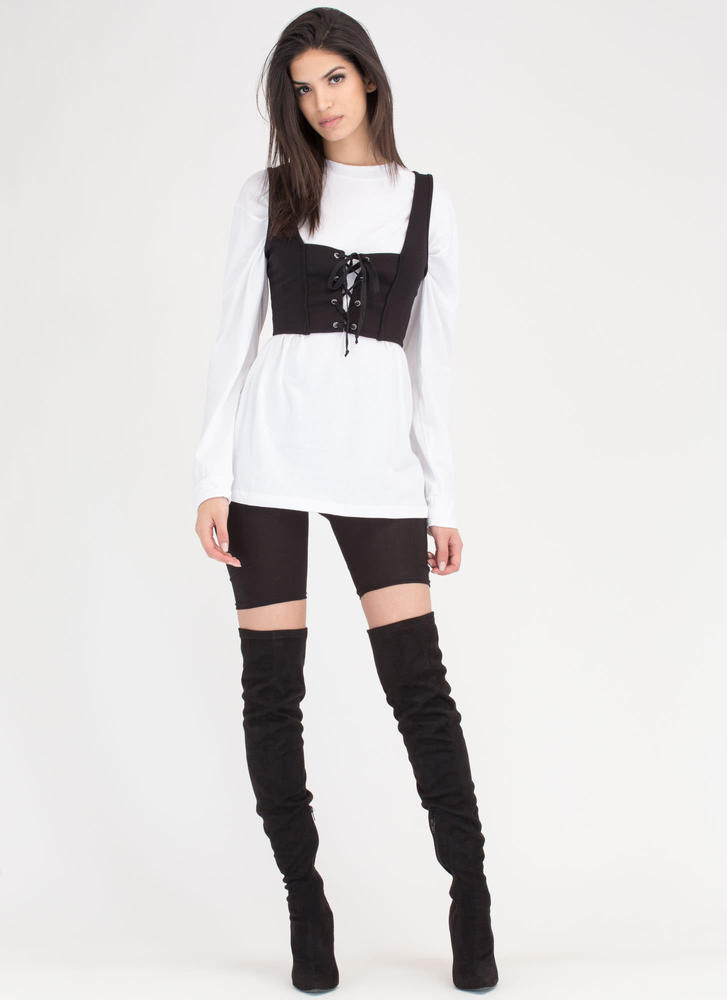 Corset Of Action Lace-Up Crop Top BLACK