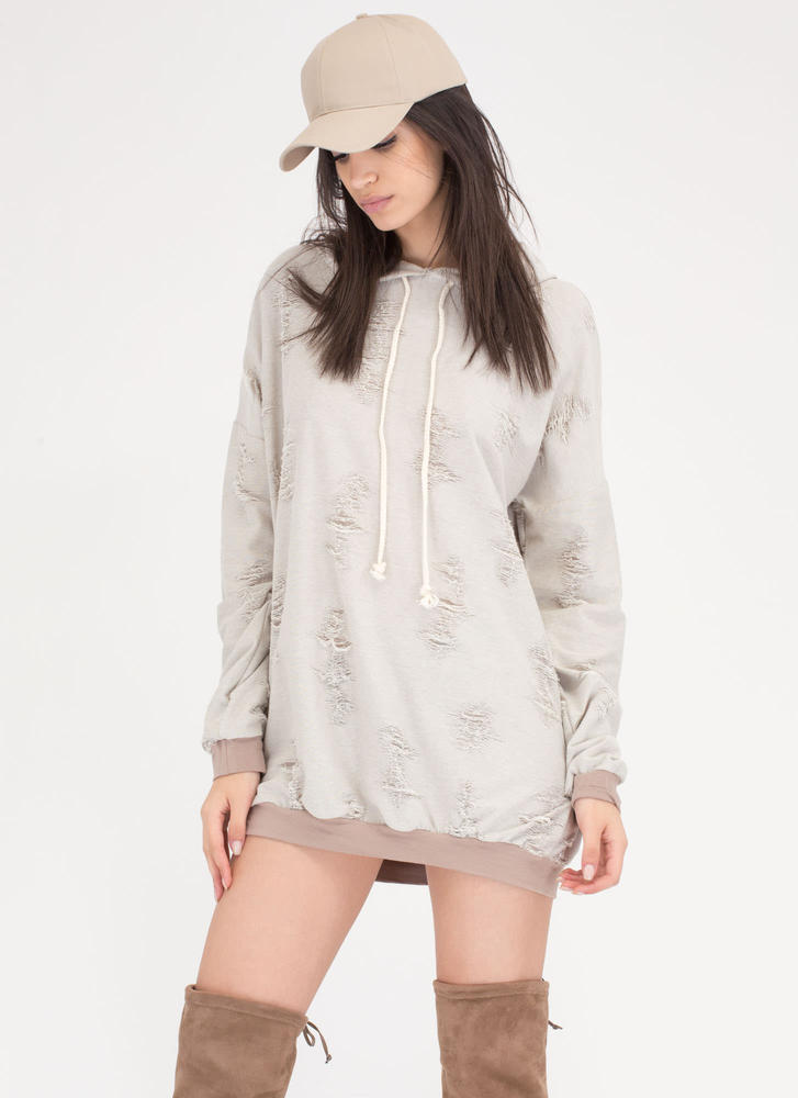 Fray Around Hooded Sweatshirt Dress TAUPE