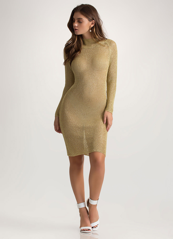 Chic Armor Knit Metallic Midi Dress