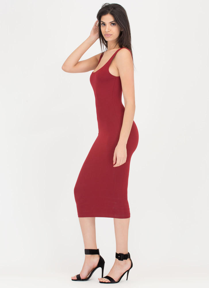 Beauty In The Basic Midi Tank Dress BURGUNDY