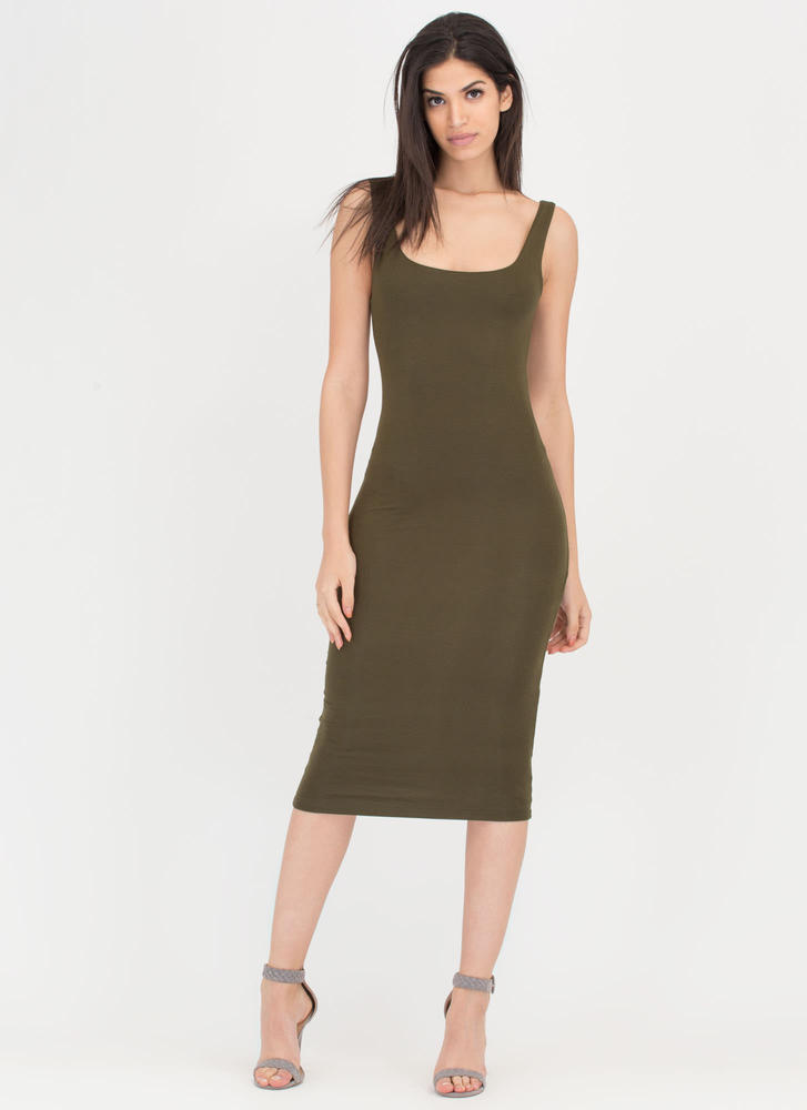 Beauty In The Basic Midi Tank Dress OLIVE