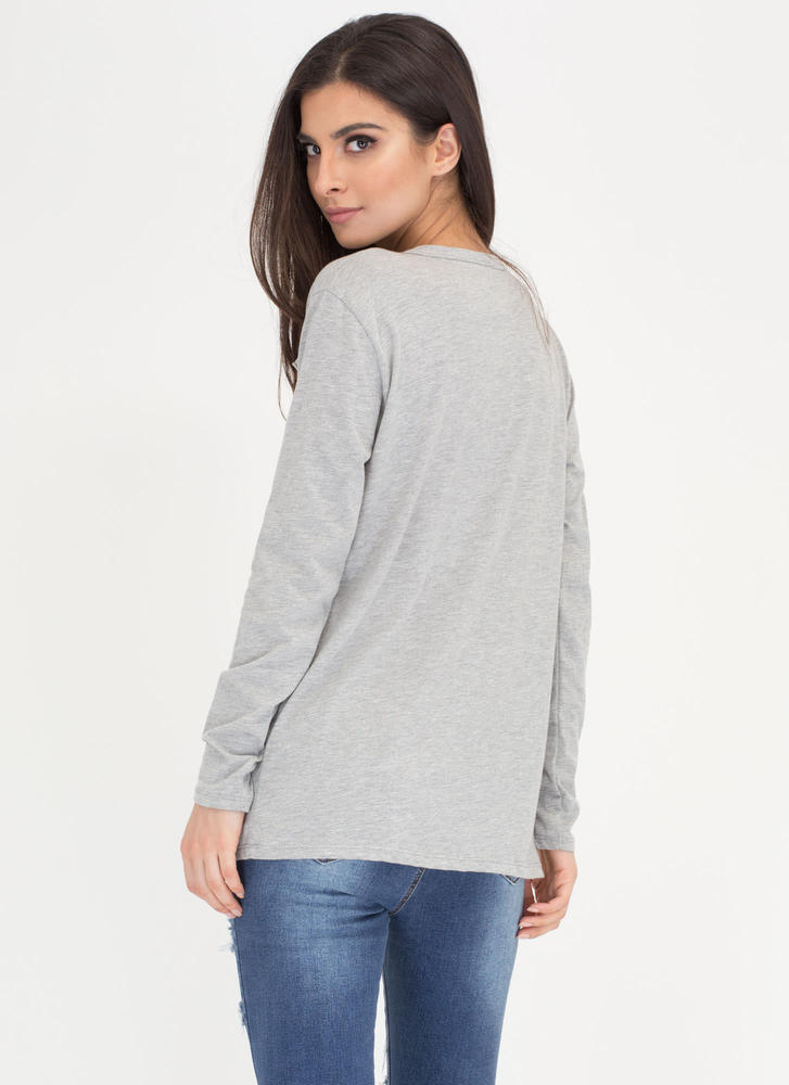 Holes In One Destroyed Cut-Out Top HGREY