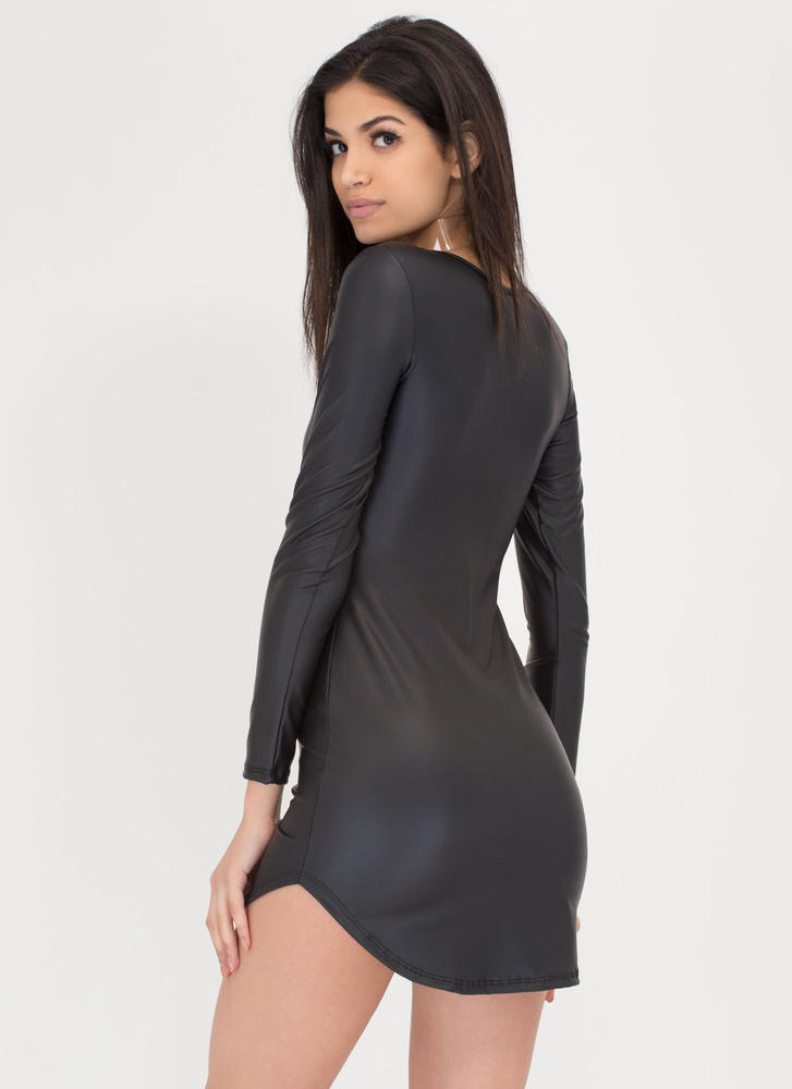 Smooth Moves Vegan Leather Dress BLACK