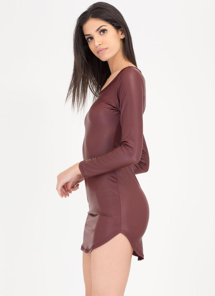 Smooth Moves Vegan Leather Dress BURGUNDY