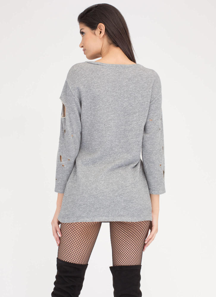 No Sweat Distressed Cut-Out Dress GREY