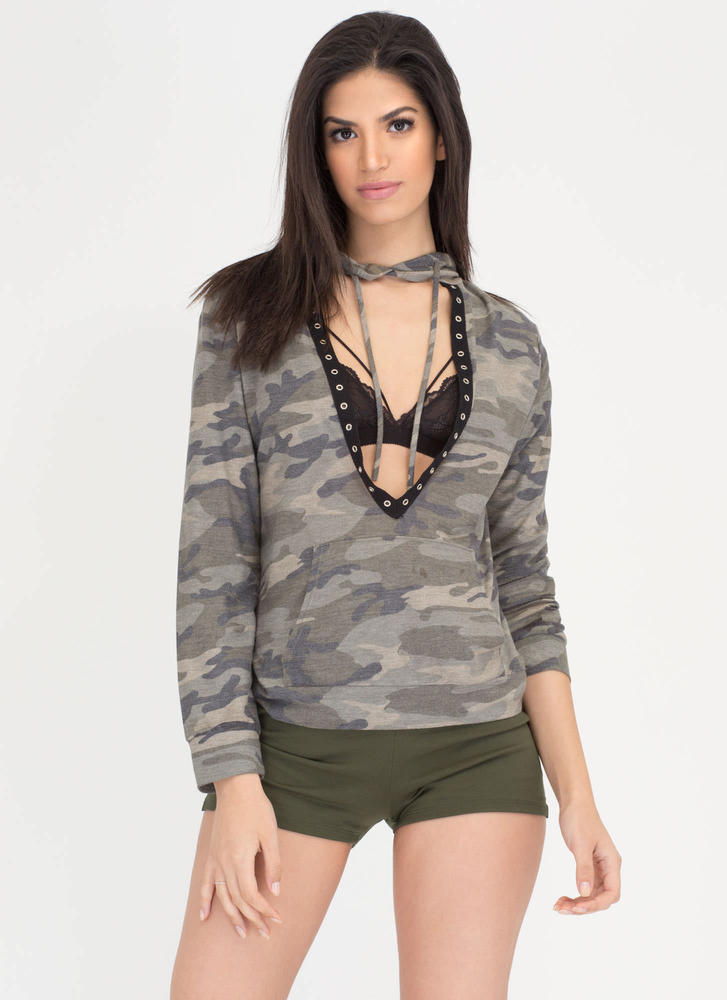 Fashion Duty Plunging Camo Hoodie Top