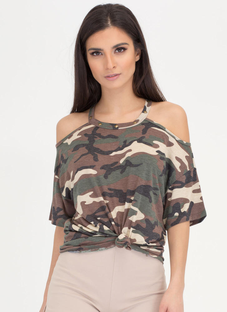 Style Leader Camo Cold Shoulder Top