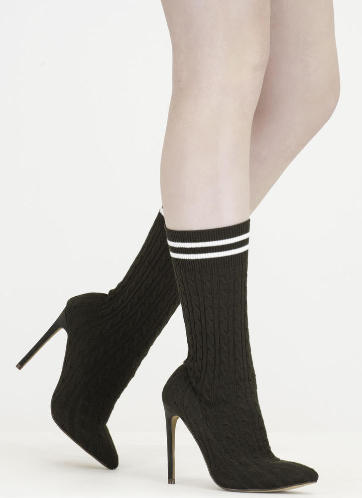 Knit's A Hit Pointy Sock Booties OLIVE