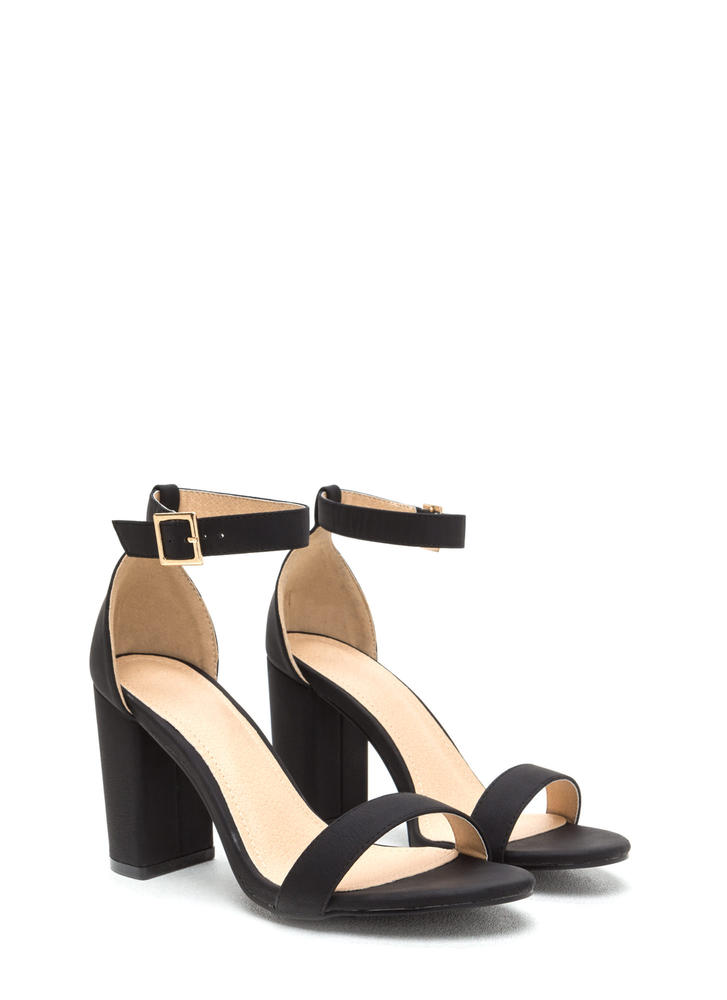 Killer Look Chunky Faux Nubuck Heels BLACK