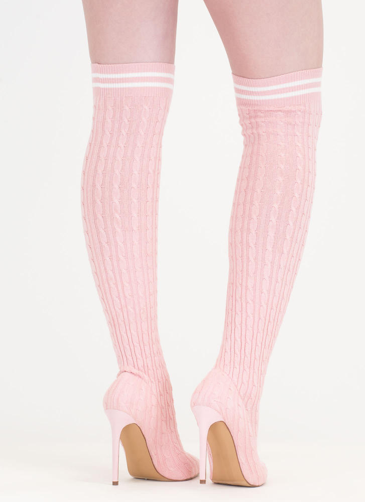 Knit's A Hit Thigh-High Sock Boots PINK