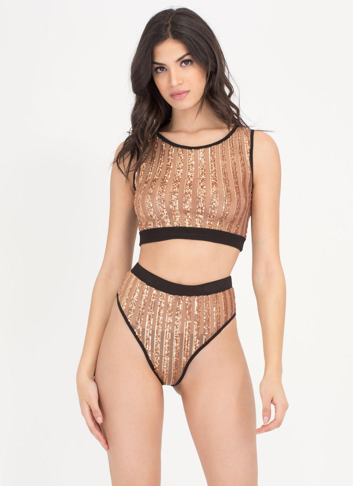 On The Glow Striped 'N Sheer Set