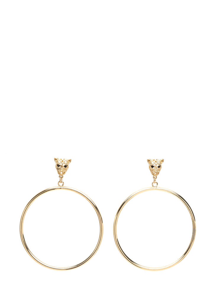 Jungle Fever Leopard Hoop Earrings GOLD