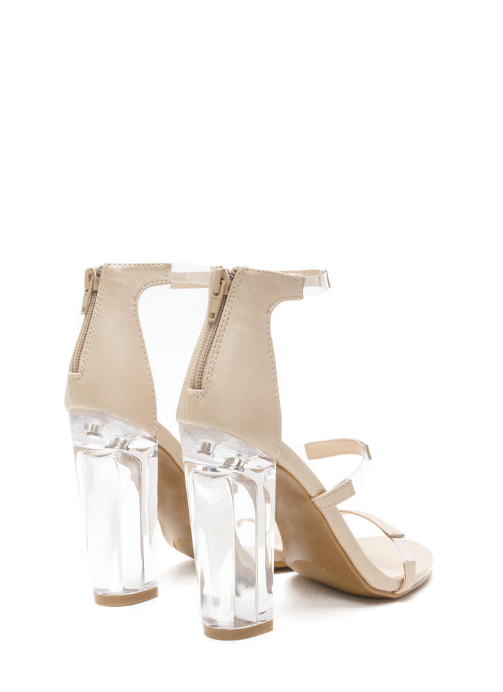 Float On Caged Faux Leather Clear Heels NUDE