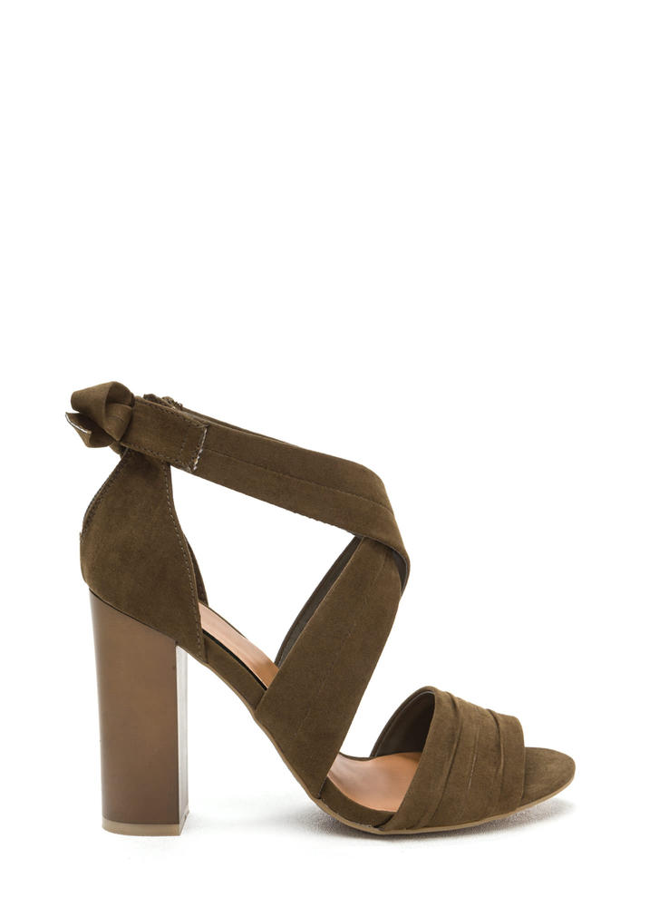 Say Pretty Pleats Strappy Chunky Heels