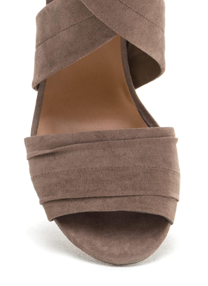 Say Pretty Pleats Strappy Chunky Heels TAUPE