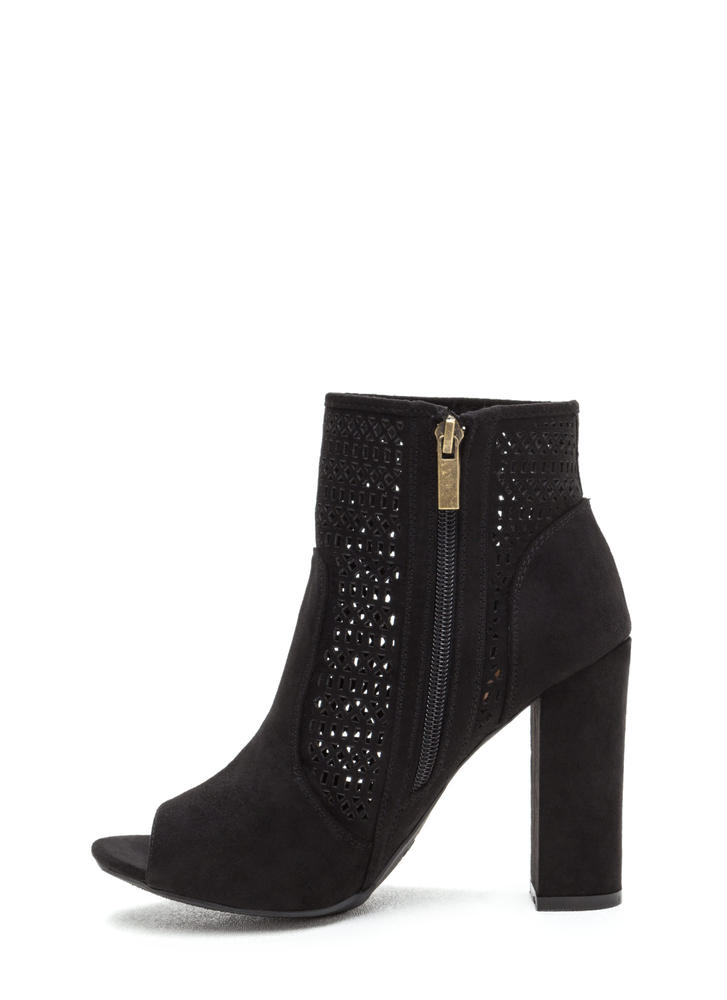 Shape Shifter Cut-Out Chunky Booties BLACK