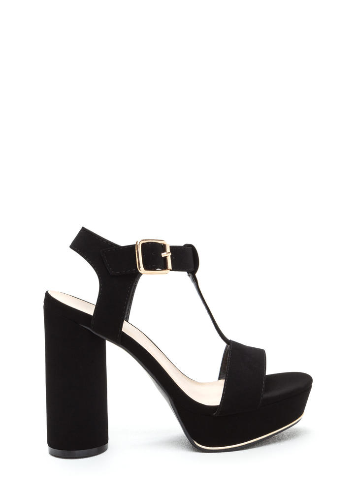 New Heights Faux Nubuck Chunky Heels