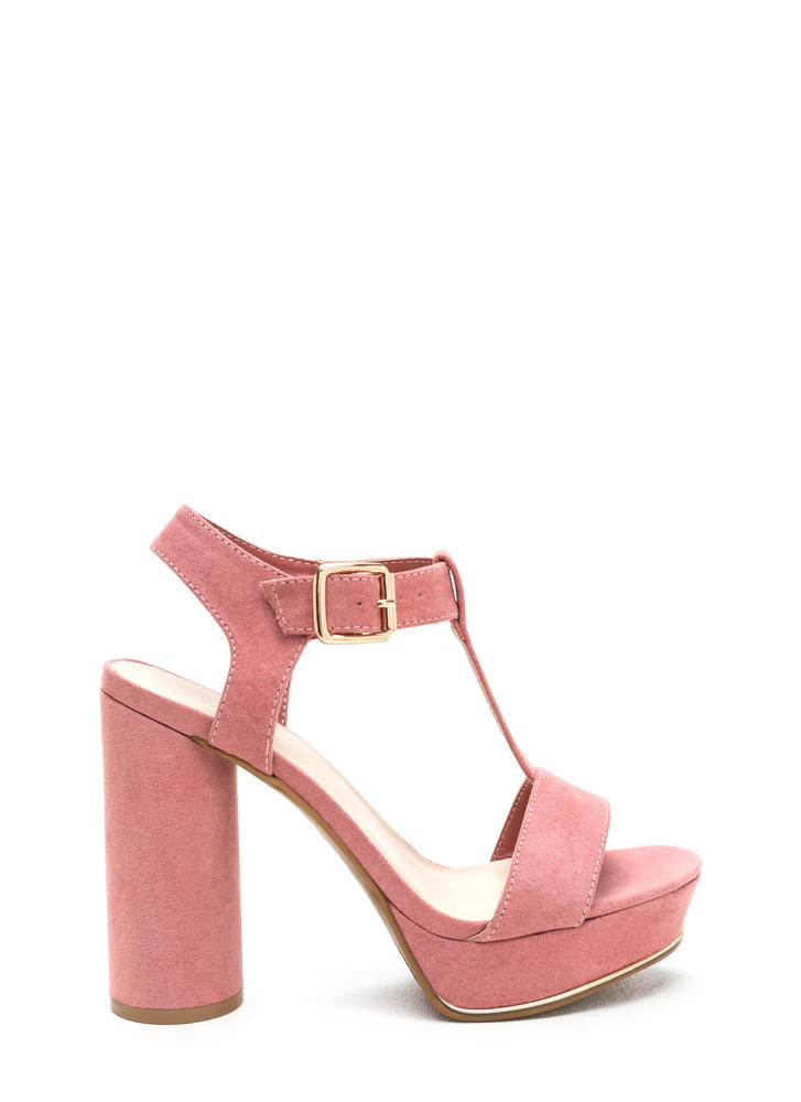 New Heights Faux Suede Chunky Heels