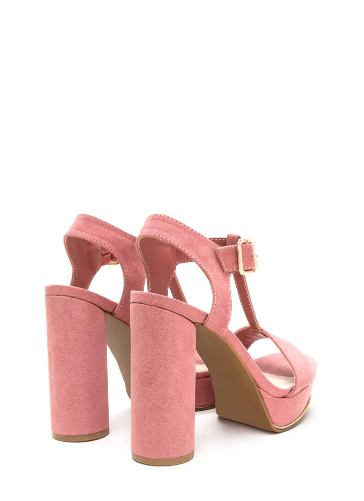 New Heights Faux Suede Chunky Heels MAUVE