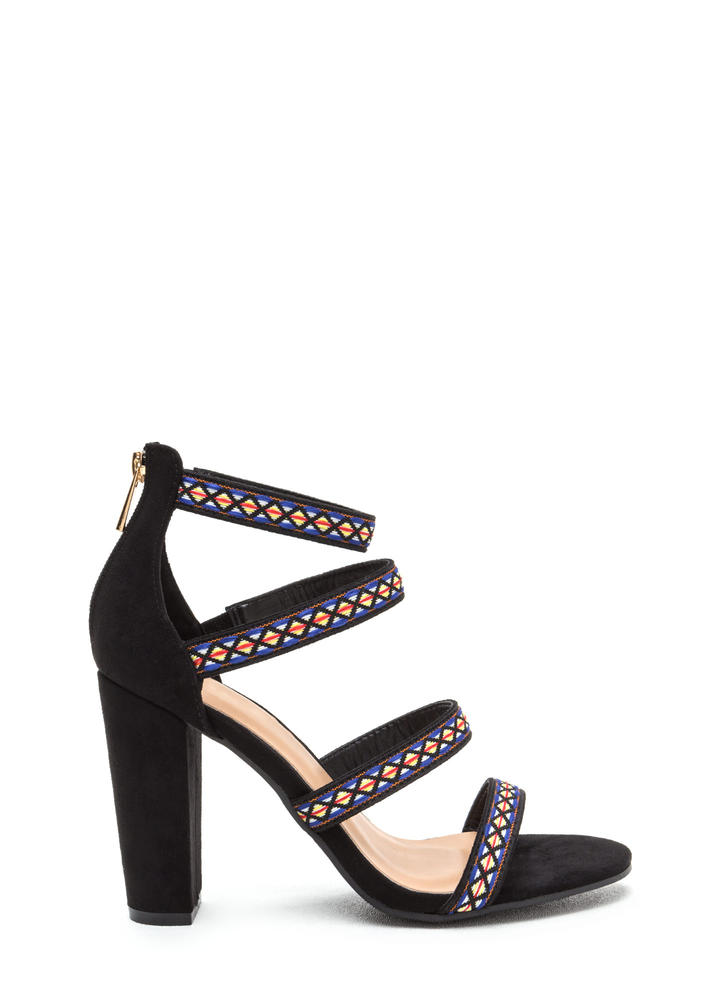 Southwest Princess Chunky Caged Heels
