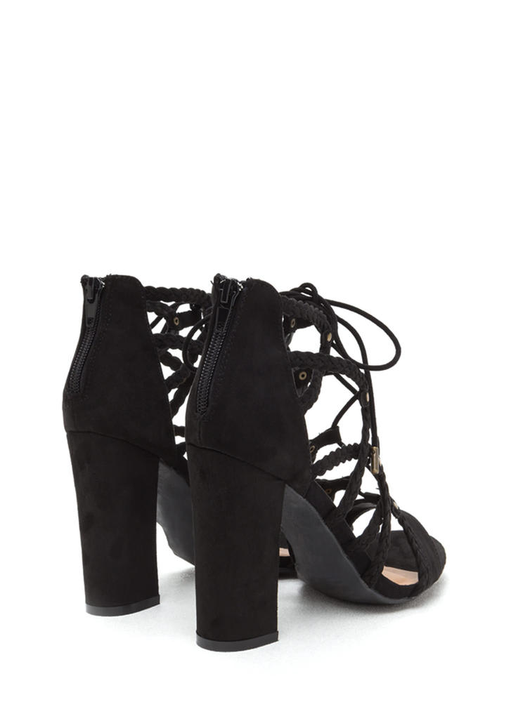 Braided Babe Chunky Lace-Up Heels BLACK