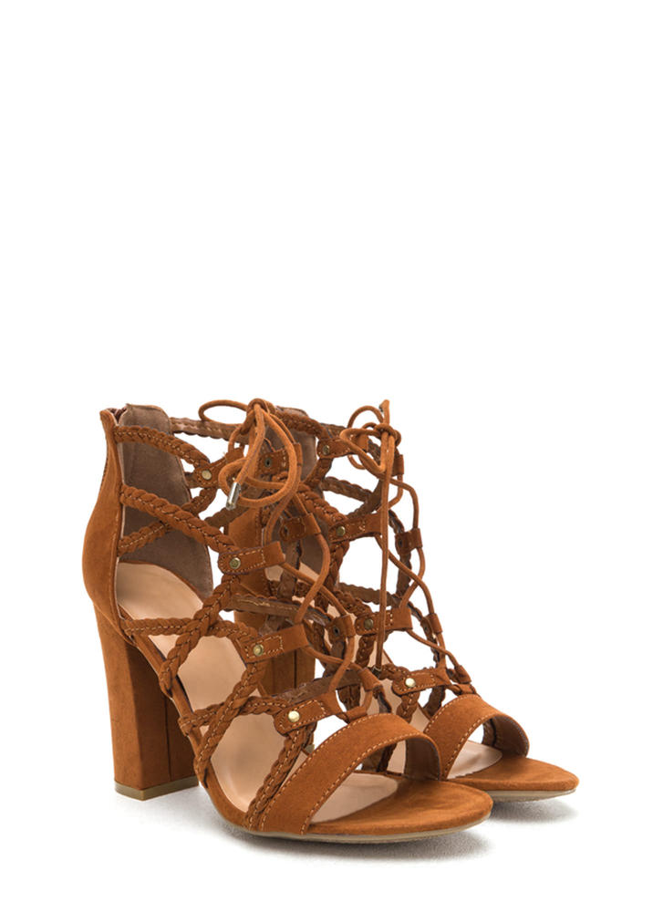 Braided Babe Chunky Lace-Up Heels CHESTNUT