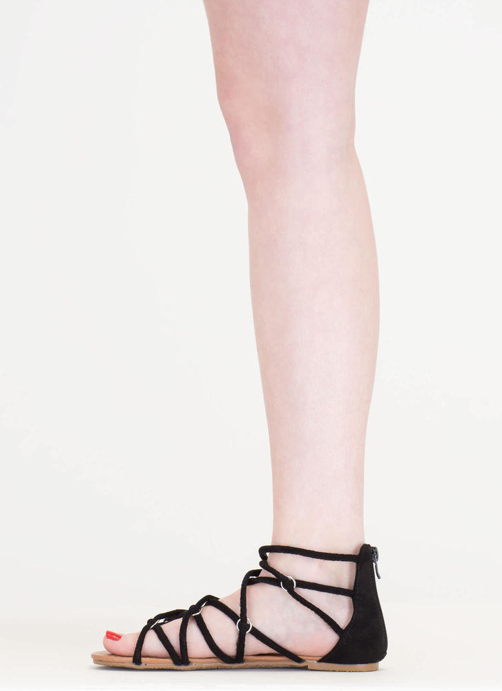 Ring In The New Knotted Caged Sandals BLACK