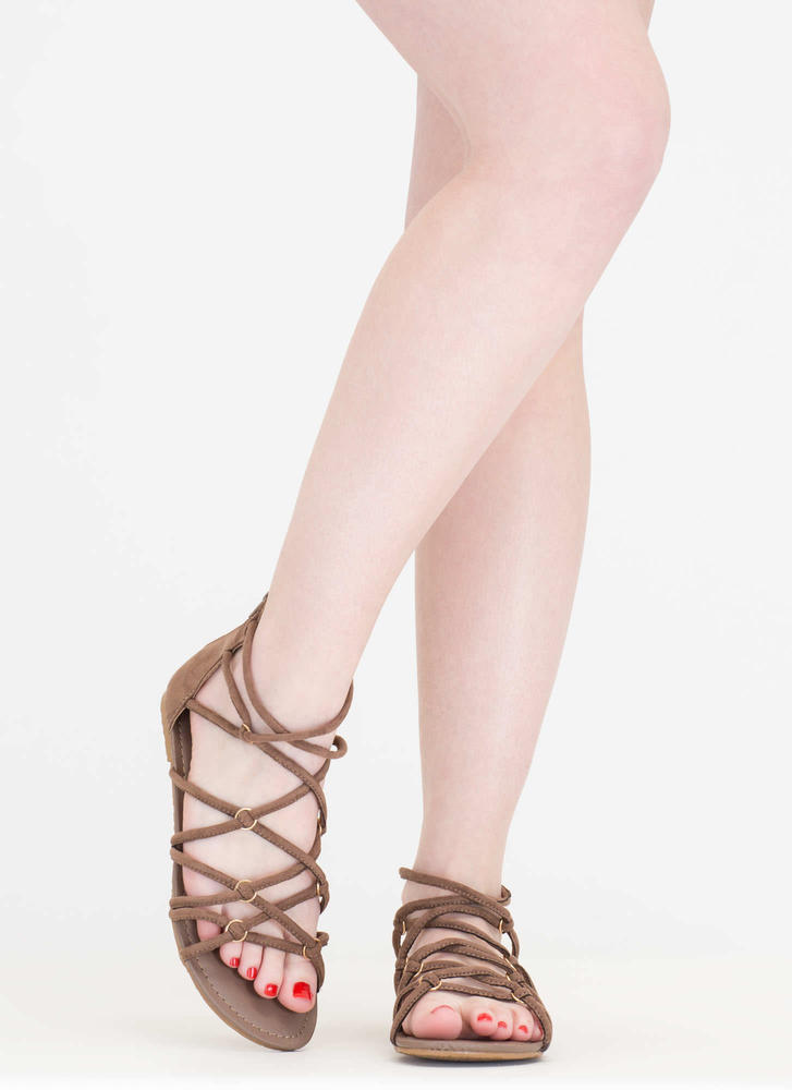 Ring In The New Knotted Caged Sandals TAUPE