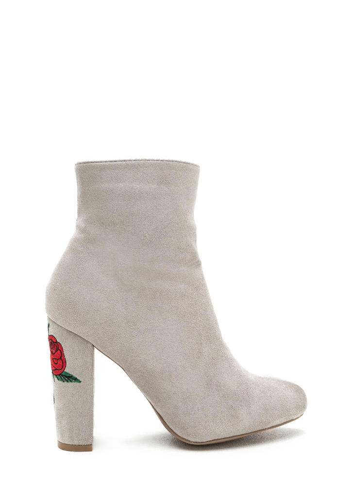 Rad Roses Chunky Embroidered Booties