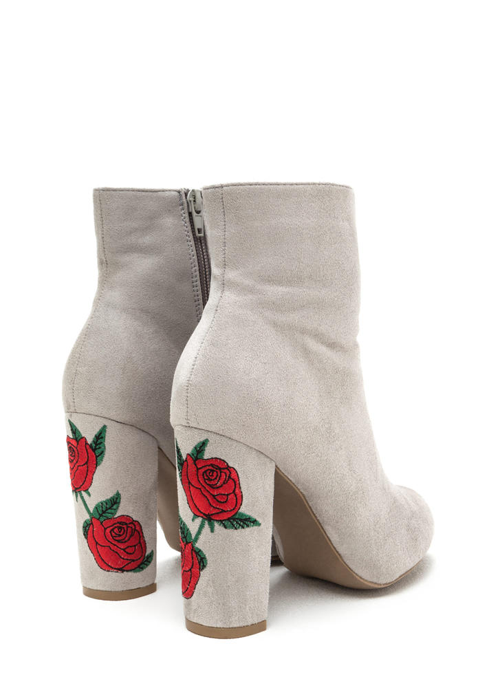 Rad Roses Chunky Embroidered Booties LTGREY