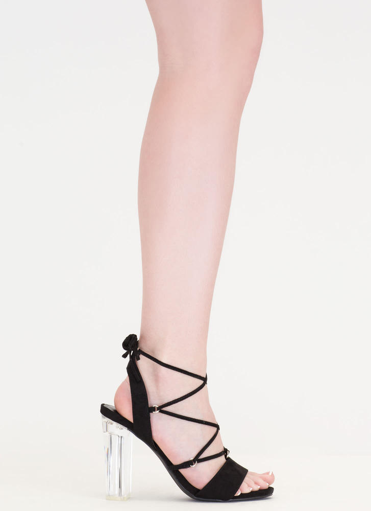 Clearly Caged Chunky Lucite Heels BLACK