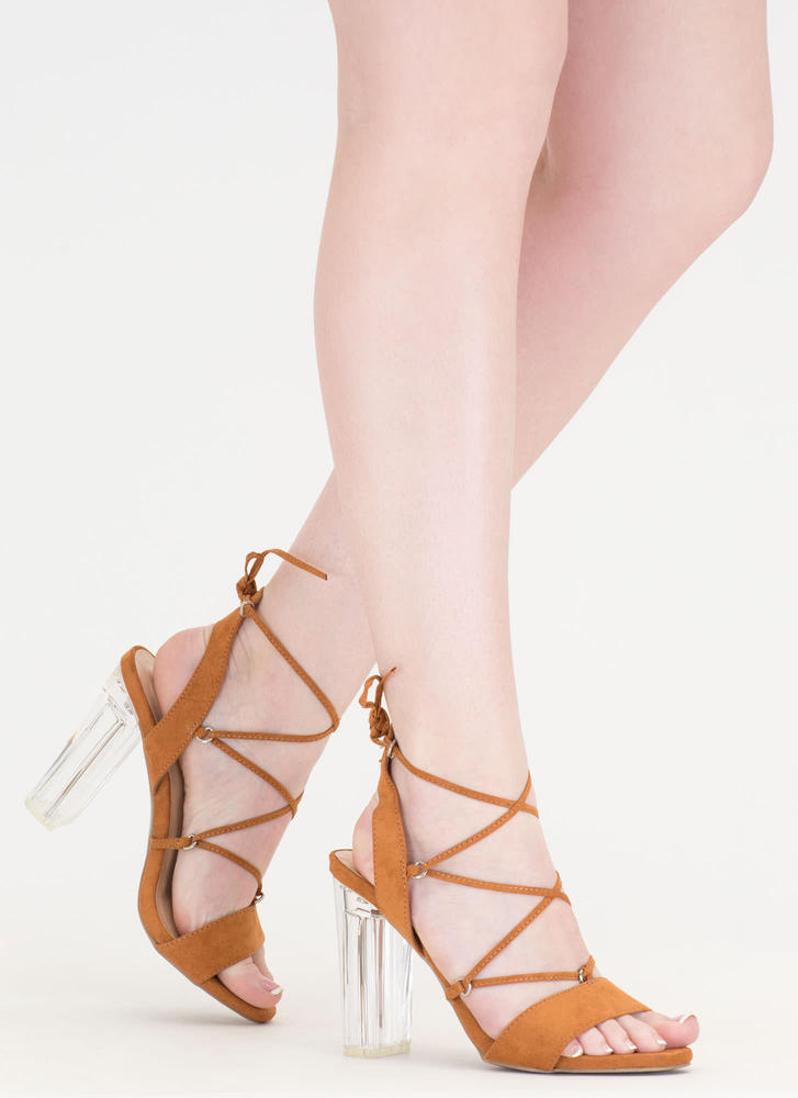 Clearly Caged Chunky Lucite Heels WHISKY
