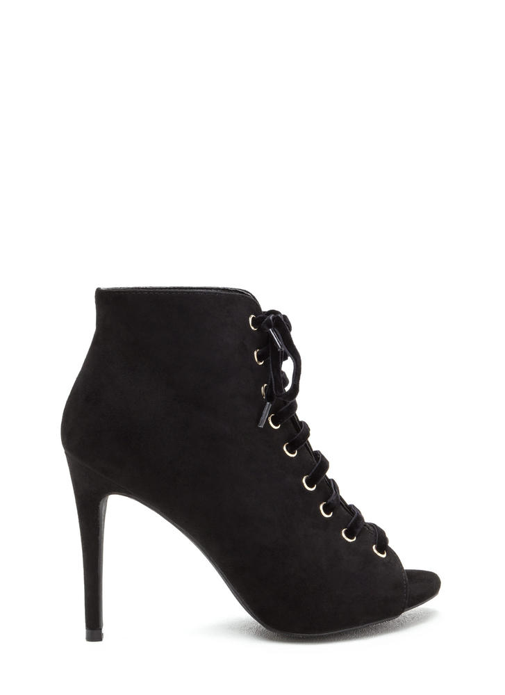 Peep These Faux Suede Lace-Up Booties BLACK