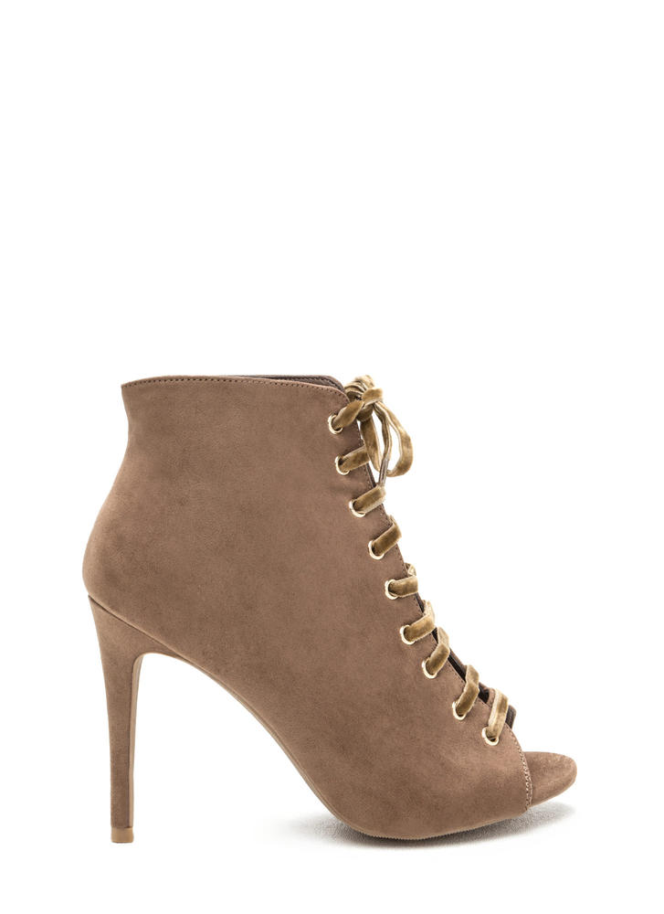 Peep These Faux Suede Lace-Up Booties