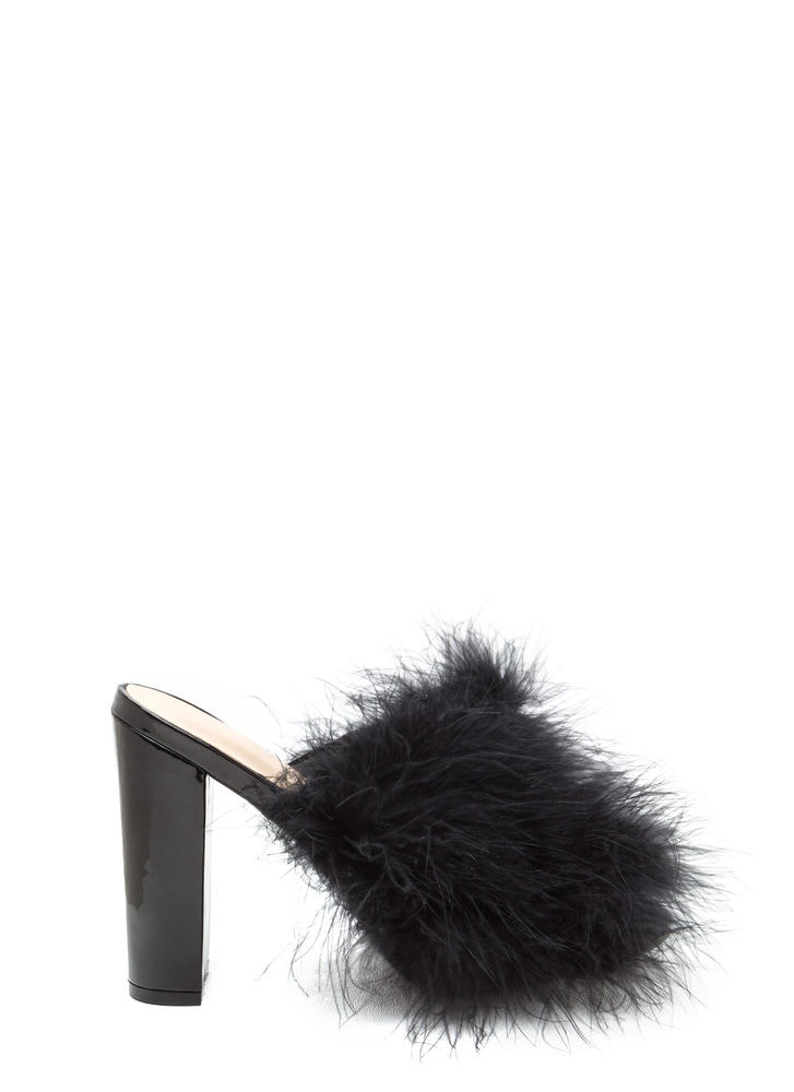 Feather Forecast Furry Peep-Toe Mules