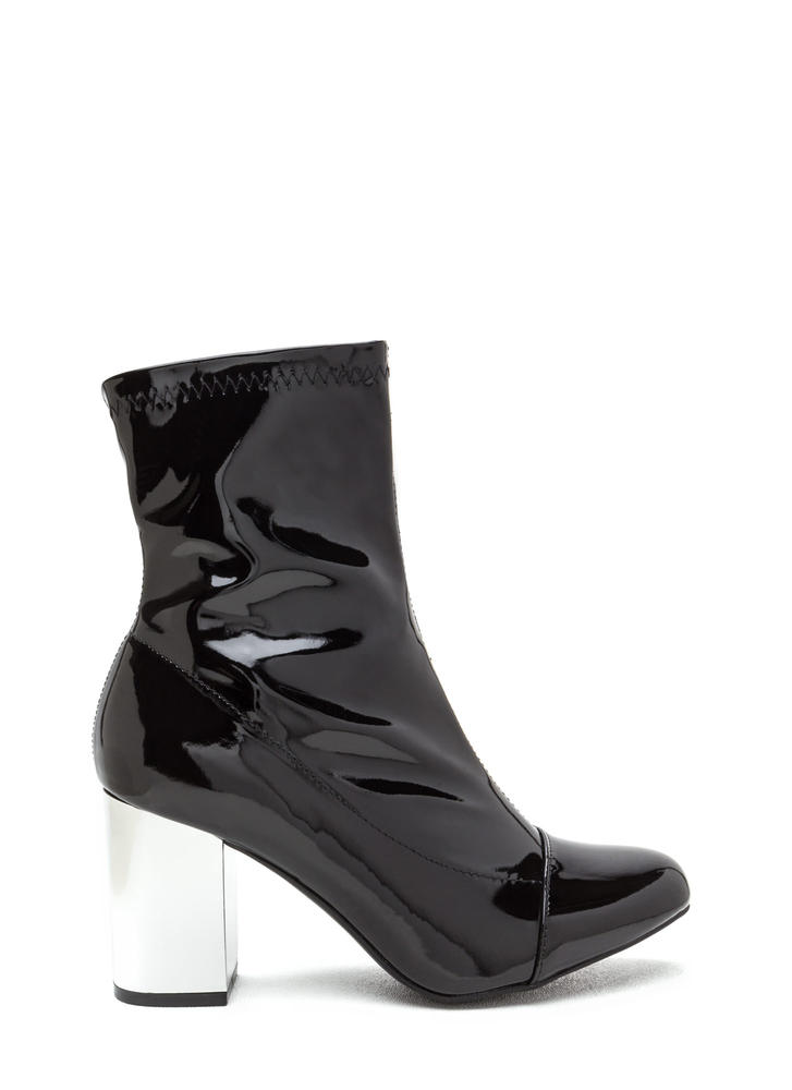 Reflections Chunky Faux Patent Booties BLACK