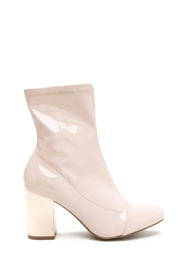 Reflections Chunky Faux Patent Booties NUDE